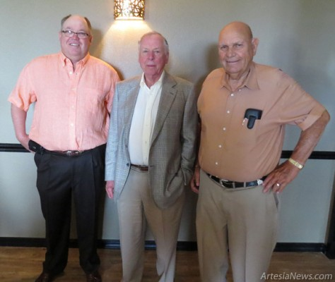 At left, famed financier T. Boone Pickens, center, poses with Mack Chase, right, and Robert Chase, left, during the Chase Foundation scholarship orientation dinner Wed- nesday. Pickens spoke to 2014 recipients of the Chase Scholarship on work ethic, roots, and the importance of having a plan. Grace Miller - Daily Press