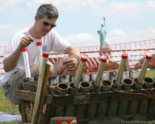 August Santore Jr. of Garden State Fireworks prepares for a Fourth of July show in 2009 in New York City. Courtesy Photo