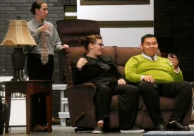 """Artesia High School theatre students practice their lines during a dress rehearsal last week for their upcoming production of Agatha Christie's """"And Then There Were None."""" Theatre teacher and director Eugene Irby said he chose the play to showcase the students' talents a bit more. """"This is so different from the comedies we usually do,"""" Irby said. """"It was time to do more serious work, and the students really like it. Anyone who comes to see the production will be able to enjoy a good, old-fashioned murder mystery."""" The play tells the tale of 10 strangers marooned on an island, each with a guilty conscience. As they begin to die one by one, the suspense and excitement build for the audience. Students in Irby's drama class and Ben White's technical theatre class put together the set and all props. The play will be presented at 7 p.m. Nov. 13 and 15 at the AHSAuditorium. Admission is $5 at the door. Liana Swarengin - Daily Press"""