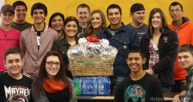 Students in Rick Wiles' fifth-period, above, and sixth-period, below, EMS classes display the gift baskets they collected to show their appreciation to local dispatchers.  Ben Theobald - Daily Press