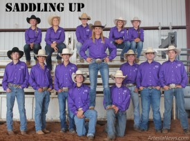 The Artesia High School rodeo team is ready to ride in their spring season. They are, seated from left, Maddy Deerman, Leann Herring, Moriah Mauldin, Kenna Sullivan, Kaitlynn Harwell, standing from left, Payson Hendrix, Morgan Brown, Zach Boyce, Coach Kerrie Pitts, Cody Hendrix, Beau Kelly, Jon Solt, kneeling from left, Blaise Milligan and Bryce McCormick.  Courtesy Photo