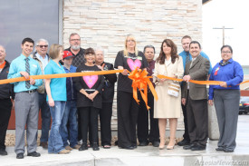 McDonald's McDonald's, located at 210 S. First St., also celebrated a grand reopening Saturday following remodeling and expansion of the restaurant. Above, owner Patricia Aragon, alongside husband and co-owner Steven Aragon, cuts the ceremonial ribbon, joined by members of the Chamber of Commerce, Artesia Trailblazers, McDonald's staff and local officials. Ben Theobald – Daily Press