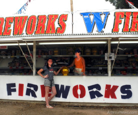Cassie Malone, right, and her niece, Dallie Stoneman, work the Mr. W Fireworks stand run by Malone's daughter, Laci Malone, this morning on West Main Street adjacent Concho Resources. The stand is offering a variety of fireworks of all types as the Fourth of July approaches, with no restrictions this year due to plentiful rainfall in the area. Customers must be 16 or older to purchase fireworks. Mr. W will be open for business through Sunday, July 5.  Teresa Lemon - Daily Press