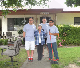 "Chase scholars Romeo Luevano, A.J. Krogman and Richard Renteria take a break from their yard work this morning to pose for a picture with Rachael Gonzales, the recipient of their handiwork. ""I feel so privileged, I've never had so many young people helping me at once,"" said Gonzales, as she offered the teens some of the fruits of her labor in the form of plums she grew in her backyard. ""I would like to meet Mr. (Mack) Chase and thank him so much for what he is doing for our community."" Recipients of the 2015 Chase Scholarships are busy in Artesia this week ""giving back"" to the community as part of their scholarship obligations. A total of 98 scholars comprise 12 teams with 15 students currently attending college on Chase Scholarships as team leaders. According to a Chase Foundation spokesperson, spots are still available for senior citizens in need of yard work and may be requested by calling 746-4610. The scholars would also like to invite any seniors that have had their yards cleaned to join them for lunch at 11:30 a.m. Friday at Trinity Temple Assembly of God. RSVP to 746-4610. Luevano plans to put his scholarship toward attendance at Swathmore College in Swathmore, Pa., Krogman at the University of New Mexico in Albuquerque, and Renteria at New Mexico State University in Las Cruces.   Teresa Lemon — Daily Press"