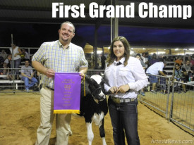Kyler Bowerman of the Artesia FFA stands with judge Alan Jennings of Pryor, Okla., and her Grand Champion dairy heifer following the opening event Monday of the junior livestock show.   Teresa Lemon - Daily Press