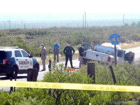 The New Mexico State Police, Eddy County Sheriff's Office and other agencies continue this morning to investigate the scene of a wreck on Dayton Road just off of South U.S. 285, reportedly the culmination of a high-speed pursuit. According to REDAdispatch reports, the ECSO was called to assist another agency in the area at 4:45 p.m. Wednesday. A reckless driving call came in at 5:23 p.m. and an accident call at 6:15 p.m. Witnesses on the highway at the time reported being passed by the Dodge pickup truck pictured at right, which appeared to be on fire. Multiple shots were also reported, although it remains unclear from whence the gunfire originated. Calls to the NMSP were unreturned as of press time today, and no information has been released.  Brienne Green - Daily Press