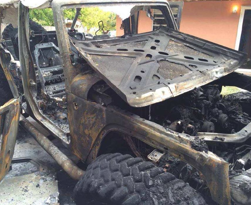 Pictured is the aftermath of one of the two vehicle fires that occurred on Monday, Aug. 3, at 406 S. 15th St. According to a police report released by the Artesia Police Department late Tuesday afternoon, the fires are still under investigation. (Courtesy Photo)
