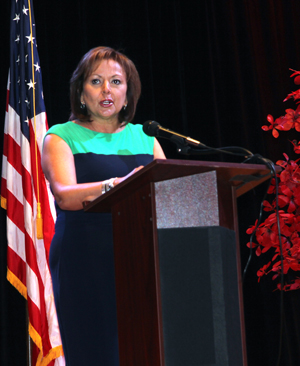 New Mexico Gov. Susana Martinez speaks during an energy summit Monday in Carlsbad. Oil and natural gas won't be the only game in town under a new state energy policy unveiled by Martinez. (Katie England - Carlsbad Current Argus)