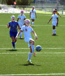 Raina Wesson taps in her second of four goals during the first half Saturday at The Mack. (Brienne Green - Daily Press)