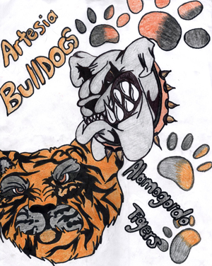 An Artesia Bulldog and Alamogordo Tiger prepare for battle in this drawing by Artesia High School sophomore Barbara (Aline) Macias. The 'Dogs will take on the undefeated Tigers at 7 p.m. today at Bulldog Bowl in their first home outing since Sept. 11.
