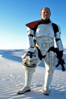 Robbie Smith stands in full Stormtrooper armor at White Sands National Monument. (Photo Courtesy Caitlin Knorr)