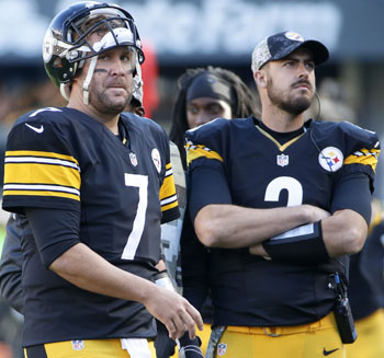 Pittsburgh Steelers quarterback Ben Roethlisberger (7) and backup Landry Jones (3) stand on the sidelines during an NFL football game against the Oakland Raiders, Sunday, Nov. 8, 2015, in Pittsburgh. (AP Photo - Gene J. Puskar)