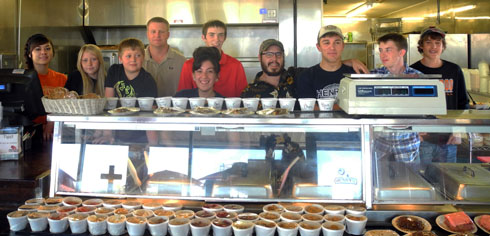 Pictured from left are Pearl Aragon, Tayler Henry, Tanner Henry, Jon Henry, Gabe Mauldin, Alexis Morales, Tino Munoz, Josiah Kraft, Jacob Field and Camryn Evans. Not pictured are J.B. Burchett, morning supervisor, Tawyna Henry, owner, and Ms. Maria, food prep. (Teresa Lemon - Daily Press)