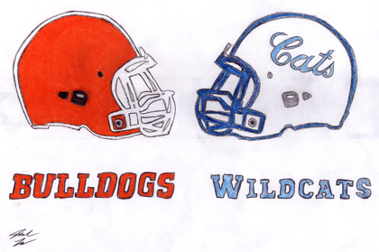 Today's District 4-AAAAA showdown between Artesia and Lovington is illustrated in this drawing by Artesia High School junior art student Josiah Lara. Kickoff is slated for 7 p.m. at Bulldog Bowl.