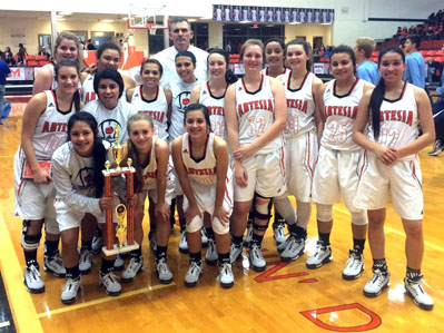 The Lady Bulldog basketball team poses with their second-place trophy. (Courtesy Photo)