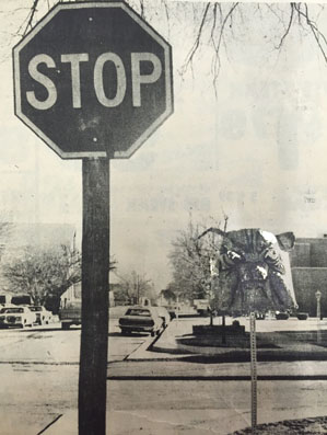 Mack the Bulldog appears to be keeping a watchful eye on motorists, making sure they observe the stop sign at the corner of Seventh Street and Grand Avenue. Mack turned up sometime Saturday night, but Artesia High School officials say they don't know where he came from. The paper mache head sits upon a pole formerly bearing a smaller stop sign. (Daily Press 1986 File Photo)