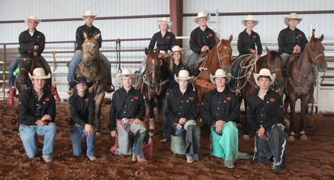 Pictured are members of the AHS rodeo team, kneeling from left, William Bricker, Hannah Hendrix, Payson Hendrix, Noah Mauldin, Blaise Milligan, Morgan Brown, standing, Coach Kerrie Pitts, on horseback from left, Tyrell Sims, Beau Kelley, Kaitlyn Harwell, Bryce McCormick, Maddy Deerman and Jon Solt. (Courtesy Photo)