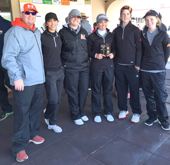 The Lady Bulldog golf team poses with their trophy after winning the Ruidoso Great 8 Thursday at The Links at Sierra Blanca. Pictured from left are coach Dusty Bean, Sydni Salmon, Teagan Archer, Josey Jackson, Taysea Powell and Brehnan Davis. (Courtesy Photo)