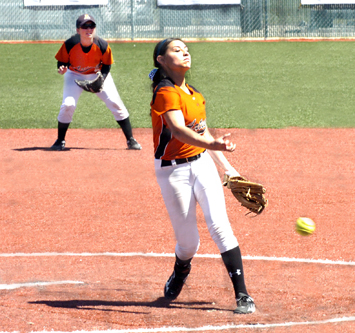 Lady Bulldog sophomore pitcher Kacey Thurman delivers to the plate during the second inning of Artesia's bout with Carlsbad Saturday afternoon in the Lady 'Dog Invitational fifth-place game. (Brienne Green - Daily Press)