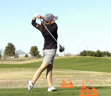 Josey Jackson watches her shot on No. 11 Monday during Day One of the Eddy County Challenge at the Artesia Country Club. (Brienne Green - Daily Press)