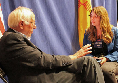 Vermont senator and Democratic presidential hopeful Bernie Sanders answers questions from Daily Press reporter Elizabeth Lewis Friday in Albuquerque regarding issues important to Southeast New Mexico, including the senator's opinions on the oil and gas industry. Lewis was one of just five reporters granted personal interviews at Friday's event. (Courtesy Photo)
