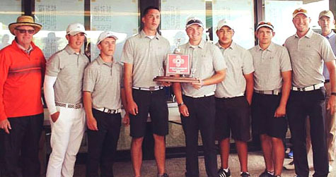 The Bulldog golf team poses with their Class 5A state runner-up trophy. (Courtesy Photo)
