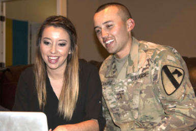 Artesia native Henry Rodriquez and his wife, Brittany, video chat with the woman whose life Rodriquez helped save following a Jan. 30 traffic accident in Colorado. (Courtesy Photo)