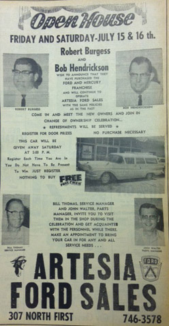 A 1966 Daily Press ad proclaims the new ownership of Artesia Ford Sales.