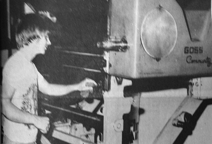 Daily Press employee Danny Scott puts the elbow grease to the press unit before it is installed for use. One of four other, similar press units is to be installed a the Deming Headlight and Graphic, the Daily Press' sister publication in Valley Newspapers Corp., and three units and a folder are now in operation at the Ruidoso News, which has been printed in Artesia since former Artesian Ken Green assumed its operation last October. (Daily Press 1976 File Photo)