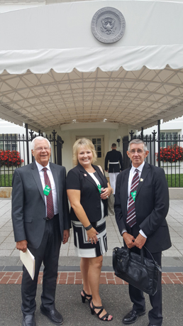 From left, former State Rep. and Mayor's Nuclear Task Force Chair John Heaton, Eddy County Commissioner Susan Crockett, and Carlsbad Mayor Dale Janway pose prior to a meeting with White House officials. (Courtesy Photo)