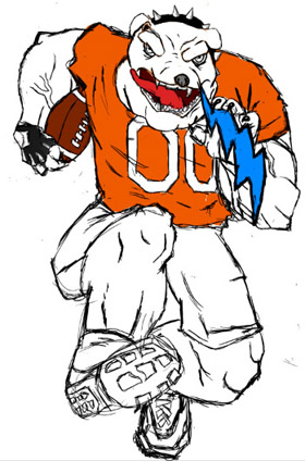 An Artesia Bulldog catches a bolt of lightning as he charges upfield in this drawing by Artesia High School junior Maegan Lemon. The Bulldog football team will take on the Class 6A second-ranked Cleveland Storm for the first time in the programs' history at 7 p.m. today at Bulldog Bowl.