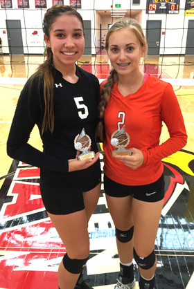 Stacia Martinez, left, and Alexa Riggs pose with their trophies after being named to the All-Tournament Team. (Courtesy Photo)