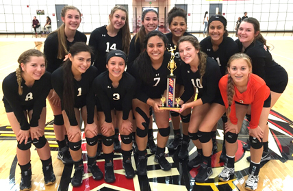 The Bulldog volleyball team displays its hardware. (Courtesy Photo)