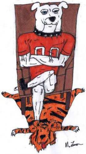 An Artesia Bulldog relaxes in his study atop a tiger skin rug in this drawing by Artesia High School junior Maegan Lemon. The 'Dogs will host the Los Lunas Tigers at 7 p.m. today at Bulldog Bowl in a clash between the top teams in Class 5A.