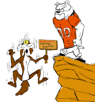 An Artesia Bulldog watches as a Roswell Coyote finds itself short of running room in this drawing by Artesia High School junior Maegan Lemon. The 'Dogs will host the Coyotes at 7 p.m. today at Bulldog Bowl in their District 4-AAAAA opening game.