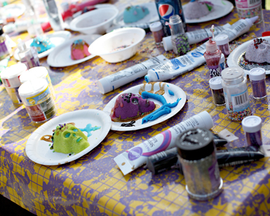 Sugar skulls sit on the decorating table at last year's Dia de los Muertos event at the Artesia Historical Museum. (Photo Courtesy Jennifer Duff)