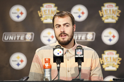 Pittsburgh Steelers quarterback Landry Jones (3) speaks during his post game press conference following their 27-16 loss to the New England Patriots in Pittsburgh, Sunday, Oct. 23, 2016. (Jared Wickerham - AP)