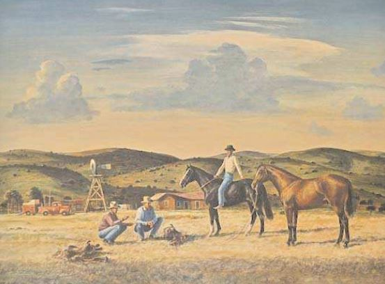 """The Horse Trade"" by Peter Hurd, on display at First American Bank"