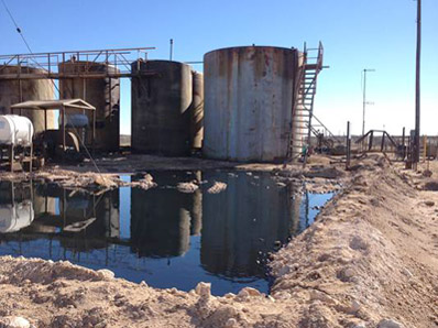Oil and produced water spill on Siana's expired lease near Eunice. (Courtesy Photo)