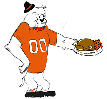 An Artesia Bulldog serves up a roast Tiger in this drawing by Artesia High School junior Maegan Lemon. The 'Dogs will host Los Lunas at 1 p.m. Saturday at Bulldog Bowl in a Class 5A State Semifinal game.