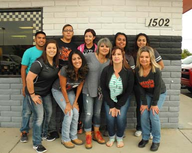 Pictured back row from left are Los Potrillos employees Nick Archibech, Syra Carnillo, Chelsea Orona, Luisa Zamarron, Diane Rodriguez, front row from left, Vanessa Lopez (owner's daughter), Angela Zamarron, Anita Brewer, Alma Martinez (owner) and Lawanda Goodman. Not pictured are Alfonso Rodriguez and Joey Lopez (owner's son). (Teresa Lemon - Daily Press)