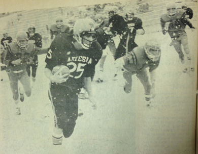 Running back Larry Whitehead (25) became one of three Bulldogs to top the 1,000-yard offensive mark after he raced for 85 yards on seven carries. Whitehead, along with James Baker and Jerry Brown, are now among the top rushers and passers in the state. Next Saturday, the Bulldogs welcome the Socorro Warriors to Bulldog Bowl for the battle for the 1976 Class 3A football crown. The Bulldogs will be hoping to make it three in a row. (Daily Press 1976 File Photo)