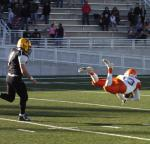 David Barlow makes a diving catch during the fourth quarter Saturday at Nusenda Community Stadium. (Brienne Green - Daily Press)