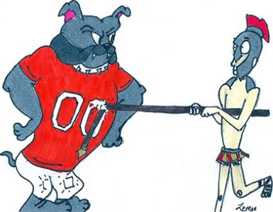 A St. Pius Sartan discovers he may have to change his plans after an unexpected encounter with an Artesia Bulldog in this drawing by Artesia High School art student Maegan Lemon. The 'Dogs will open their 2017 playoff run at 1 p.m. Saturday against the Sartans at Bulldog Bowl in a rematch of last year's Class 5A state championship.