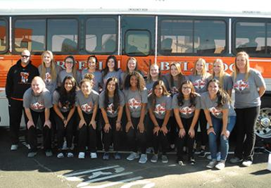 The 2018 Bulldog volleyball team poses for a photo Wednesday before department for state. (Teresa Lemon - Daily Press)